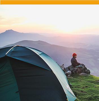 Tente at the top of a Basque mountain