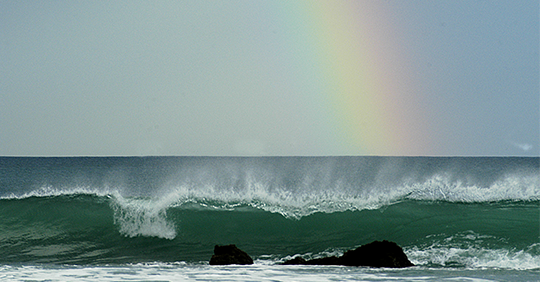 Rainbow on a wave