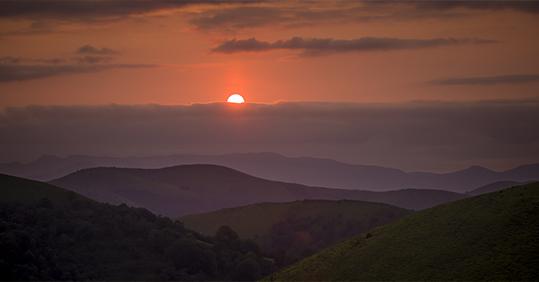 Basque natural background at sunset