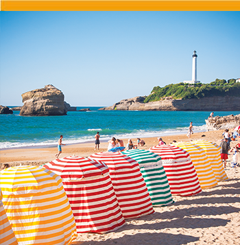 Clear view of the Biarritz Beach with the lighthouse